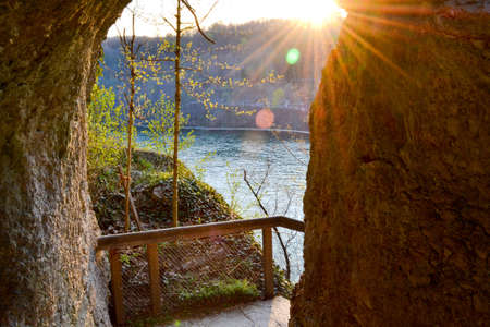 Cave entrance in sunset