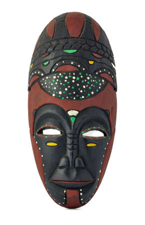 carved: African wooden mask isolated on white background Stock Photo