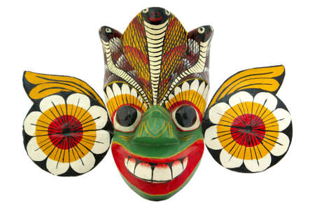 African wooden mask isolated on white background Stock Photo