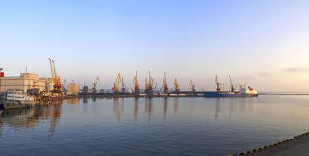 Sea harbor morning panorama