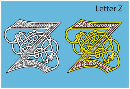 Ancient Celtic alphabet (26 letters) Stock Vector - 8503999