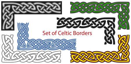 celtico: Insieme vettoriale delle frontiere stile celtico Vettoriali