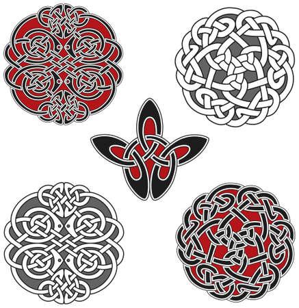 Conjunto de elementos de diseño celta Ilustración de vector