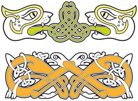 Set of celtic animals design elements Vector