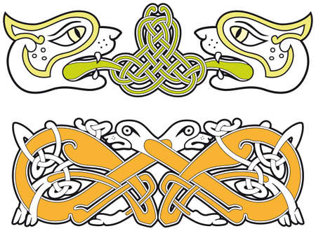 Set of celtic animals design elements Vector