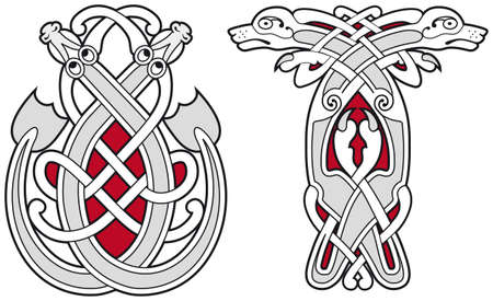 celtico: Insieme di elementi di design animali celtica Vettoriali