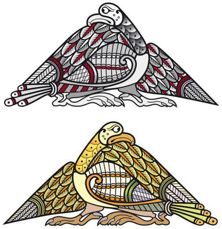 Set of celtic birds design elements