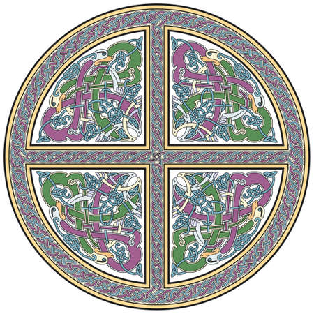 Detailed celtic cross design element with birds