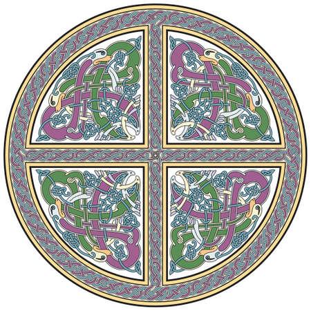 croce celtica: Elemento di progettazione dettagliata croce celtica con gli uccelli