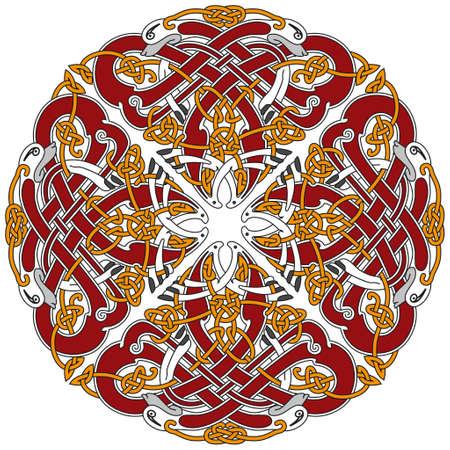 Detailed celtic design element with birds Vector