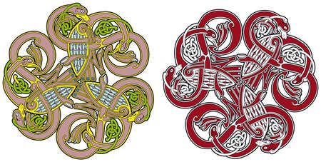 Detailed celtic design element with birds and animals Vector