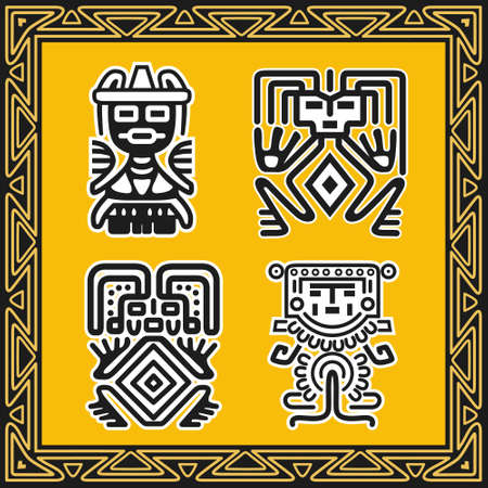 Set of ancient american indian patterns Stock Vector - 8504305