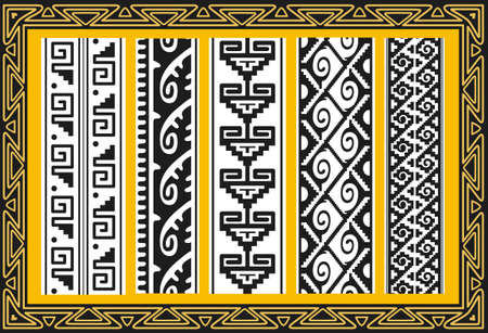 Set of ancient american indian patterns Vector
