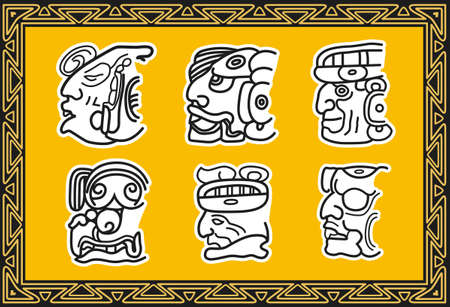 Set of ancient american indian patterns. Faces Vector