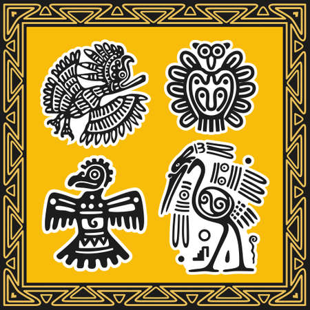 Set of ancient american indian patterns. Birds. Illustration