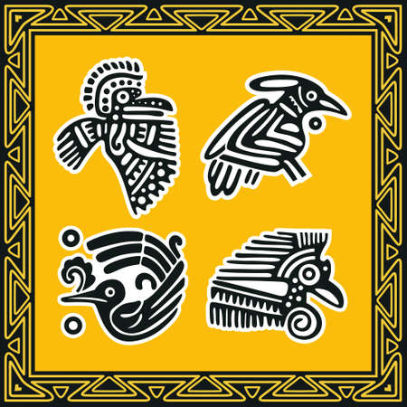 Set of ancient american indian patterns. Birds. Stock Vector - 8504283