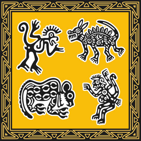 Set of ancient american indian patterns. Animals. Vector