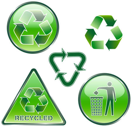 Set of green recycled signs Stock Vector - 8504321