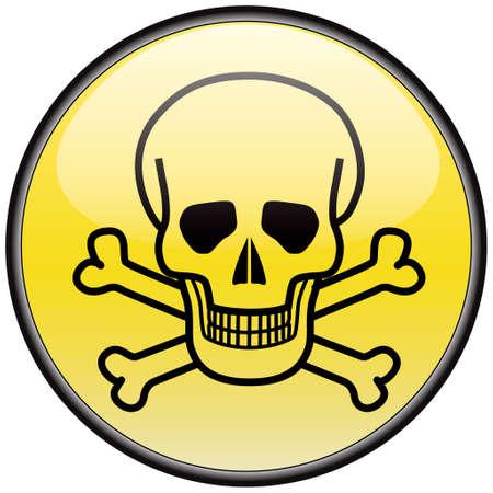 hazardous sign: Skull and bones vector round hazardous sign
