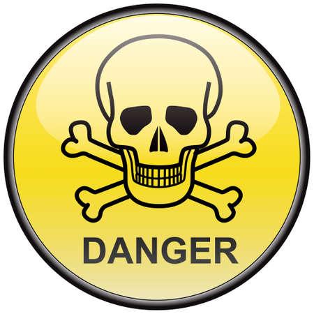 Skull and bones danger vector round hazardous sign Stock Vector - 8504278