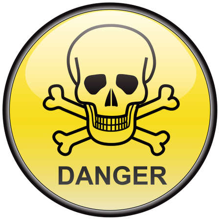 hazardous sign: Skull and bones danger vector round hazardous sign