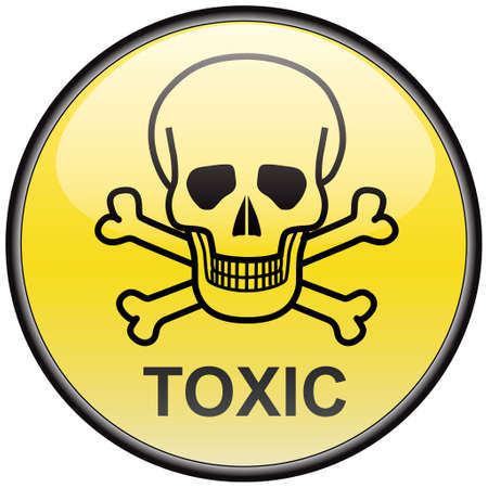 Skull and bones toxic vector round hazardous sign Illustration