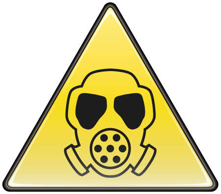 gas mask: Gas mask vector triangle hazardous sign