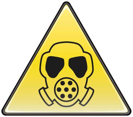 gasmasker: Gas masker vector driehoek gevaarlijke teken Stock Illustratie