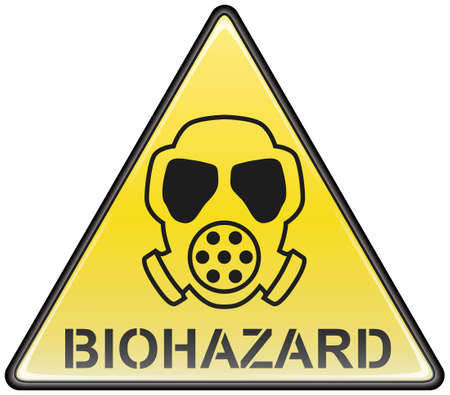 Biohazard gas mask vector triangle hazardous sign