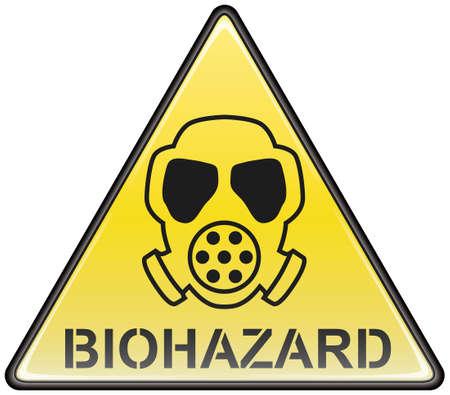 riesgo biologico: Vector tri�ngulo peligroso signo de peligro biol�gico m�scara de gas