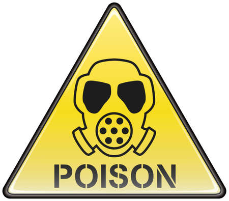 poison sign: Poison gas mask vector triangle hazardous sign Illustration