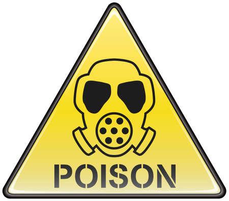 trucizna: Trujący gaz maski wektorowej trójkąt niebezpiecznych znak