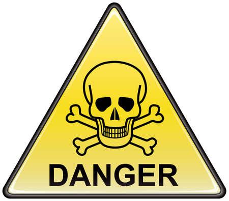 danger: Segno di vector triangolare di pericolo Skull and bones