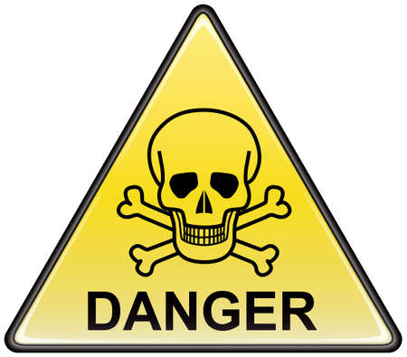 Skull and bones danger triangular vector sign