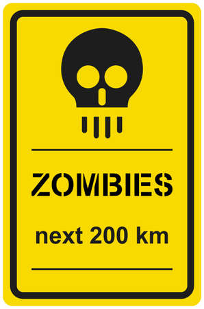 Vector sign zombies next 200 km Stock Vector - 8504250