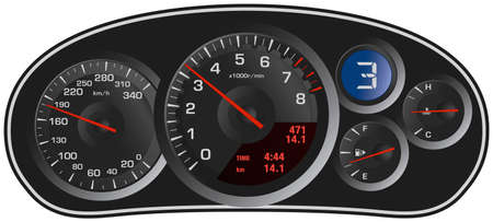 Vector realistic sport car's dashboard