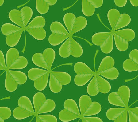 Saint Patricks day seamless trefoil shamrock texture on green background photo