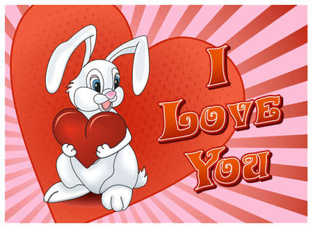 Saint Valentine's Day Rabbit with heart card on colorful background Stock Photo - 8576555
