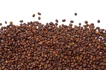 grano de cafe: Parcialmente lleno con fondo de granos de caf� tostado