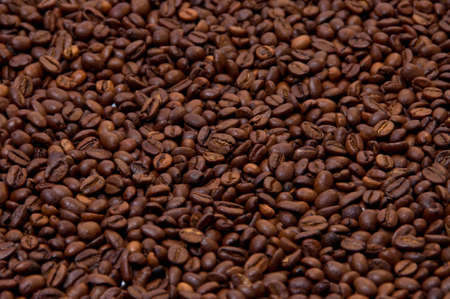 Roasted coffee beans background texture. Isometric view
