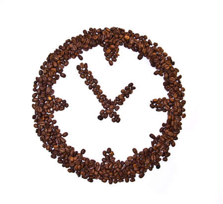 coffee time: Coffee beans conventionalized to clock isolated on white background