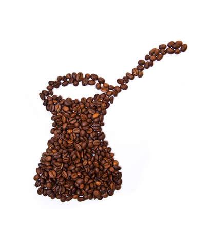 cezve: Cezve shaped coffee beans isolated on white background Stock Photo