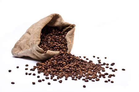 Coffee beans sack with scattered beans isolated on white background Stock Photo