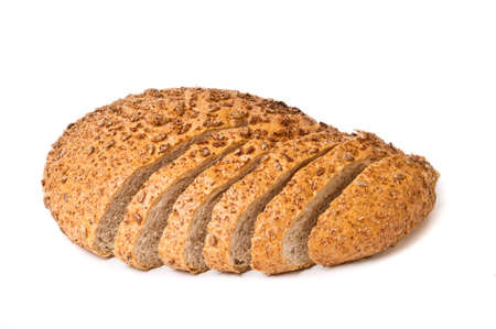Half sliced brown bread isolated on white background Stock Photo - 9407392