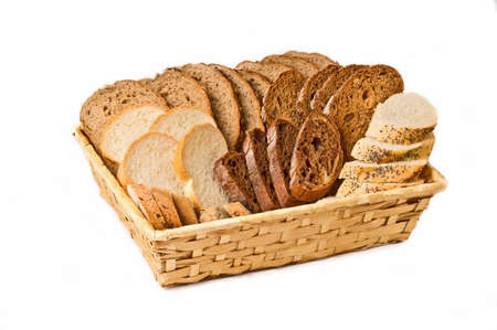 Basket with different kind sliced bread isolated on white background Stock Photo - 9407396