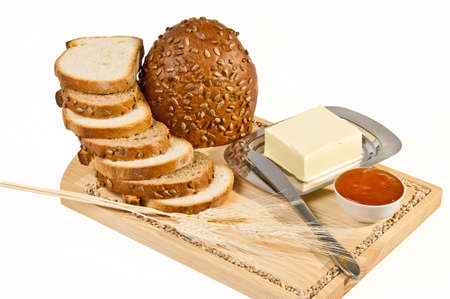 Still life with bread on light background Stock Photo - 9407434