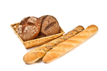 Still life with bread on white background Stock Photo - 9407388