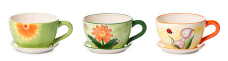Set of ceramic cup style flowerpots for indoor plants on white background