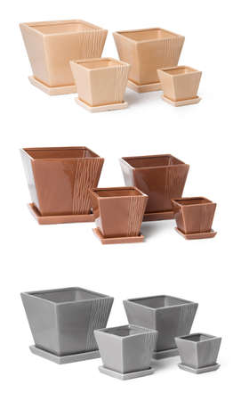 Set of ceramic flowerpots for indoor plants on white background