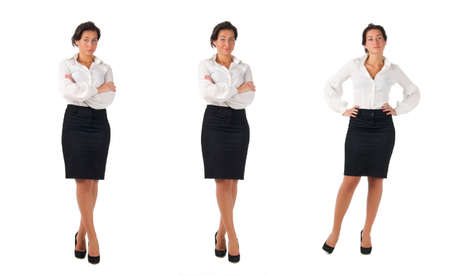 blouse: Dark haired white blouse and black skirt dressed  young business woman isolated on white background. Three poses Stock Photo